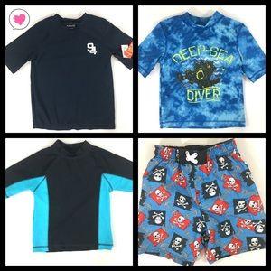Other - 3 boys swim shirts rash guards swim shorts 4/5 XS
